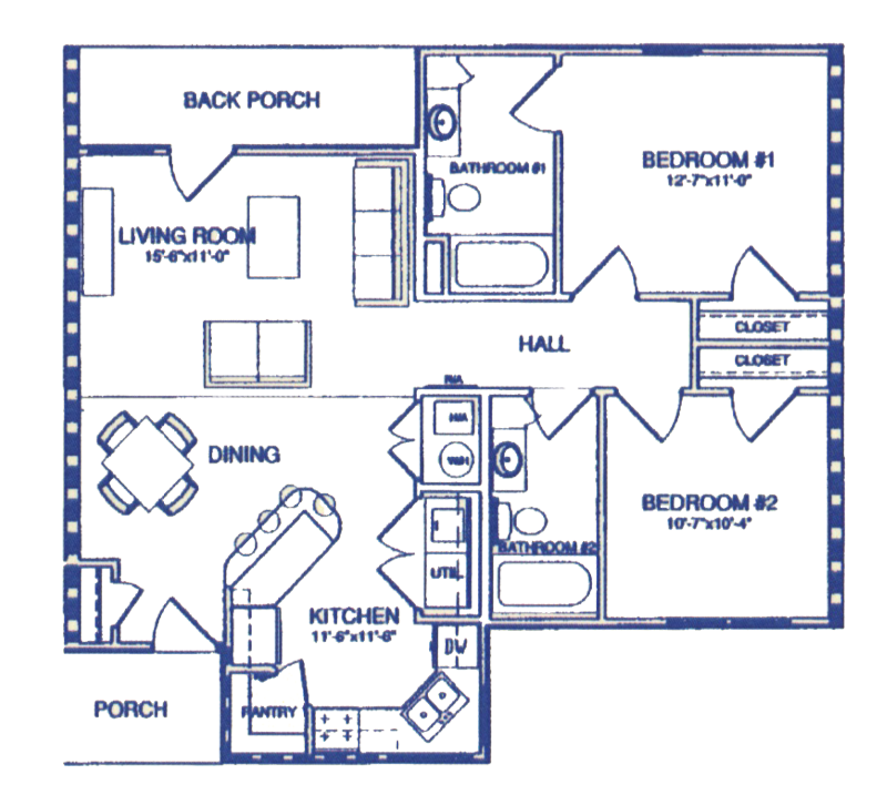 Two Bedroom / Two Bath - 1,037 Sq. Ft.*