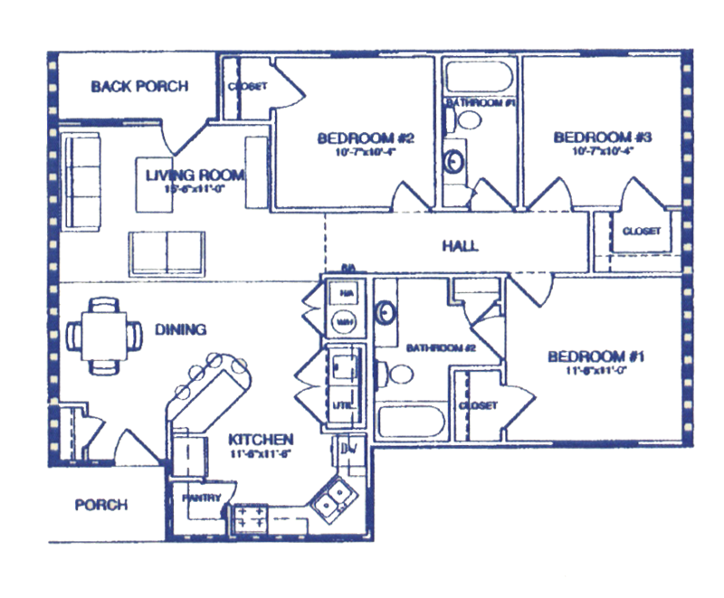 Three Bedroom / Two Bath - 1,193 Sq. Ft.*