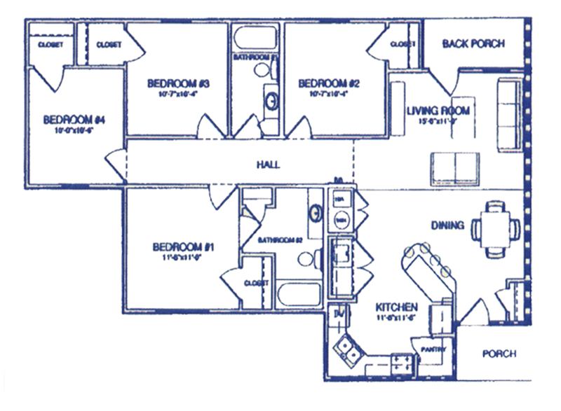Four Bedroom / Two Bath - 1,332 Sq. Ft.*